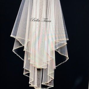 Two tier beaded wedding veil with blusher